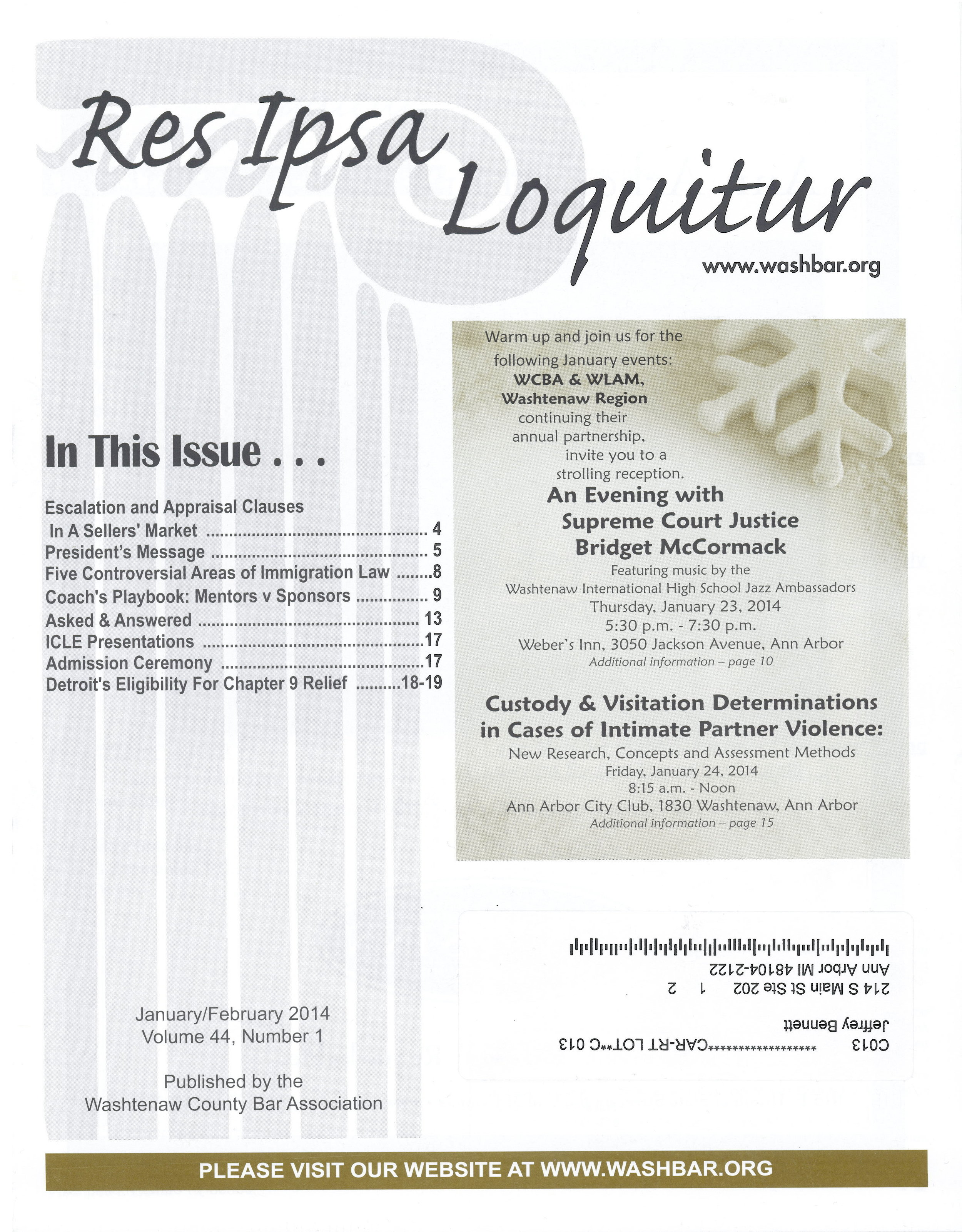 Article by Jeffrey Bennett discussing Detroit City's Bankruptcy Case that was featured in the Washtenaw County Bar Association Publication,  Res Ipsa Loquitur.