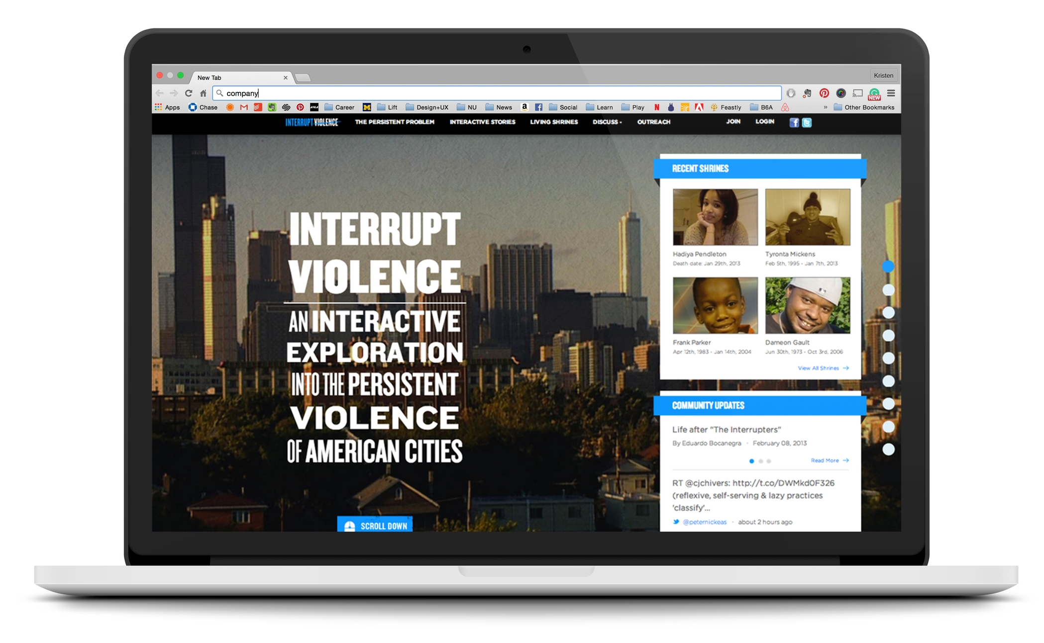 InterruptViolence.com, the outreach campaign for the Emmy Award Winning film The Interrupters, served as a hub of community engagement and provided interactive curriculum that taught Common Core aligned conflict resolution strategies. -