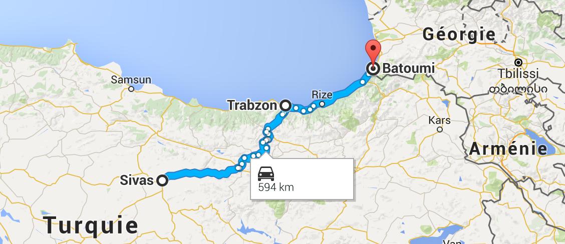 De Sivas à Batoumi (Géorgie), en passant par les montagnes.