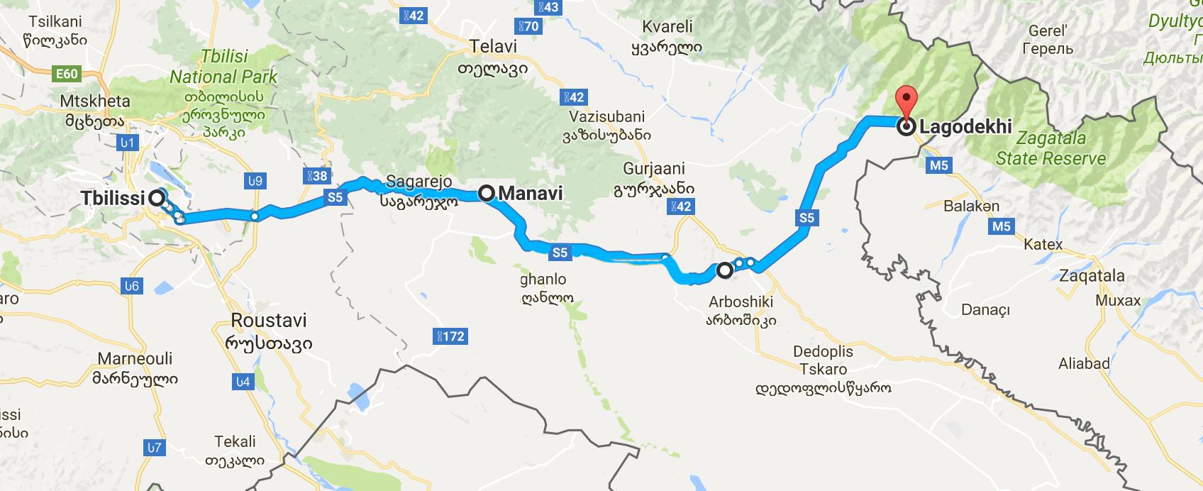 De Tbilissi à l'Azerbaïdjan, sur 160 km.