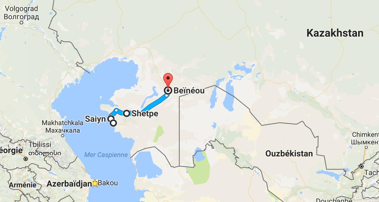 La partie kazakh, avant de poursuivre par l'ouest de l'Ouzbékistan.