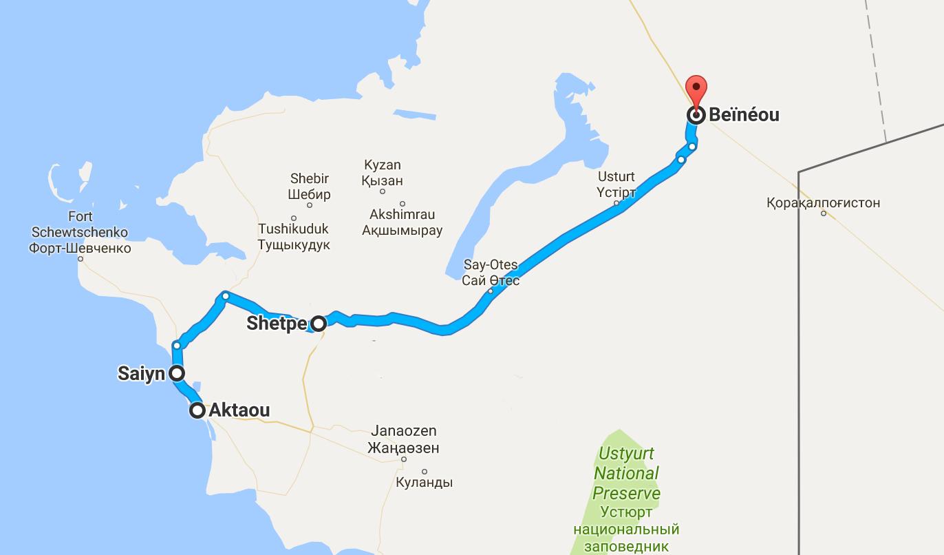 Aktau à Béïnéou, 475 km de désert.