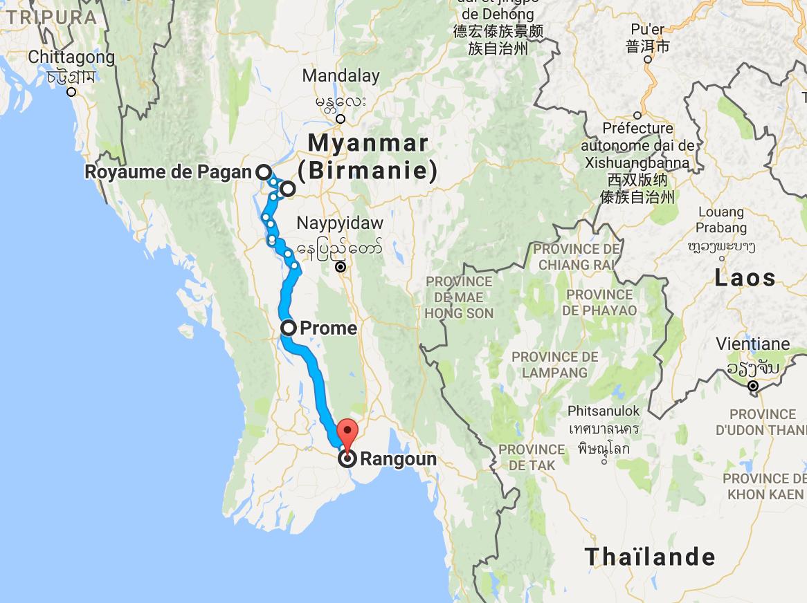 650 km pour se rendre de Bagan à Rangoun.