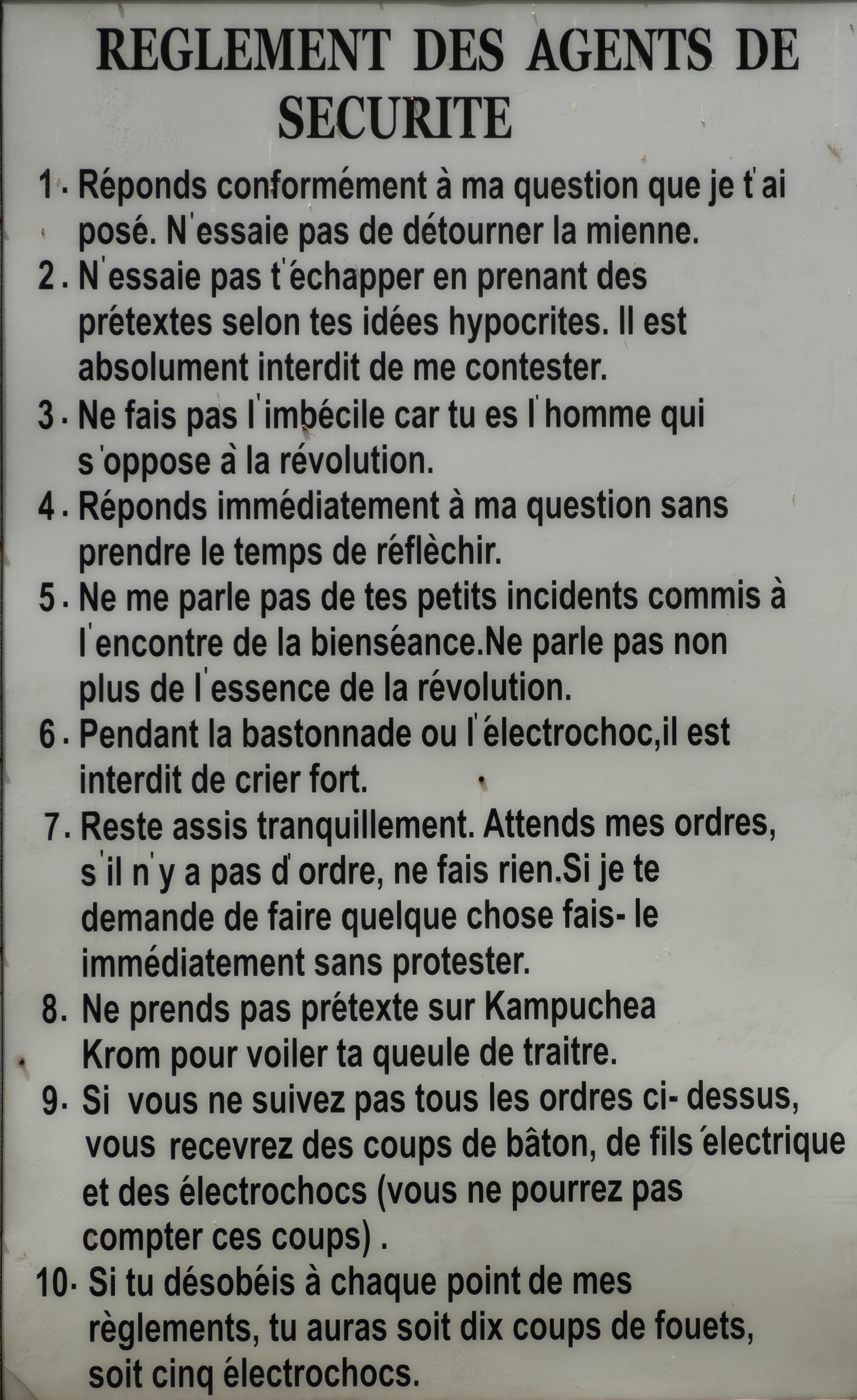 Règlements de la prison.