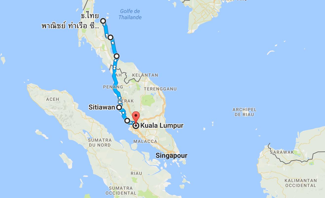 Un peu moins de 1 000 km, pour terminer la Thaïlande jusqu'à Kuala Lumpur en Malaisie.