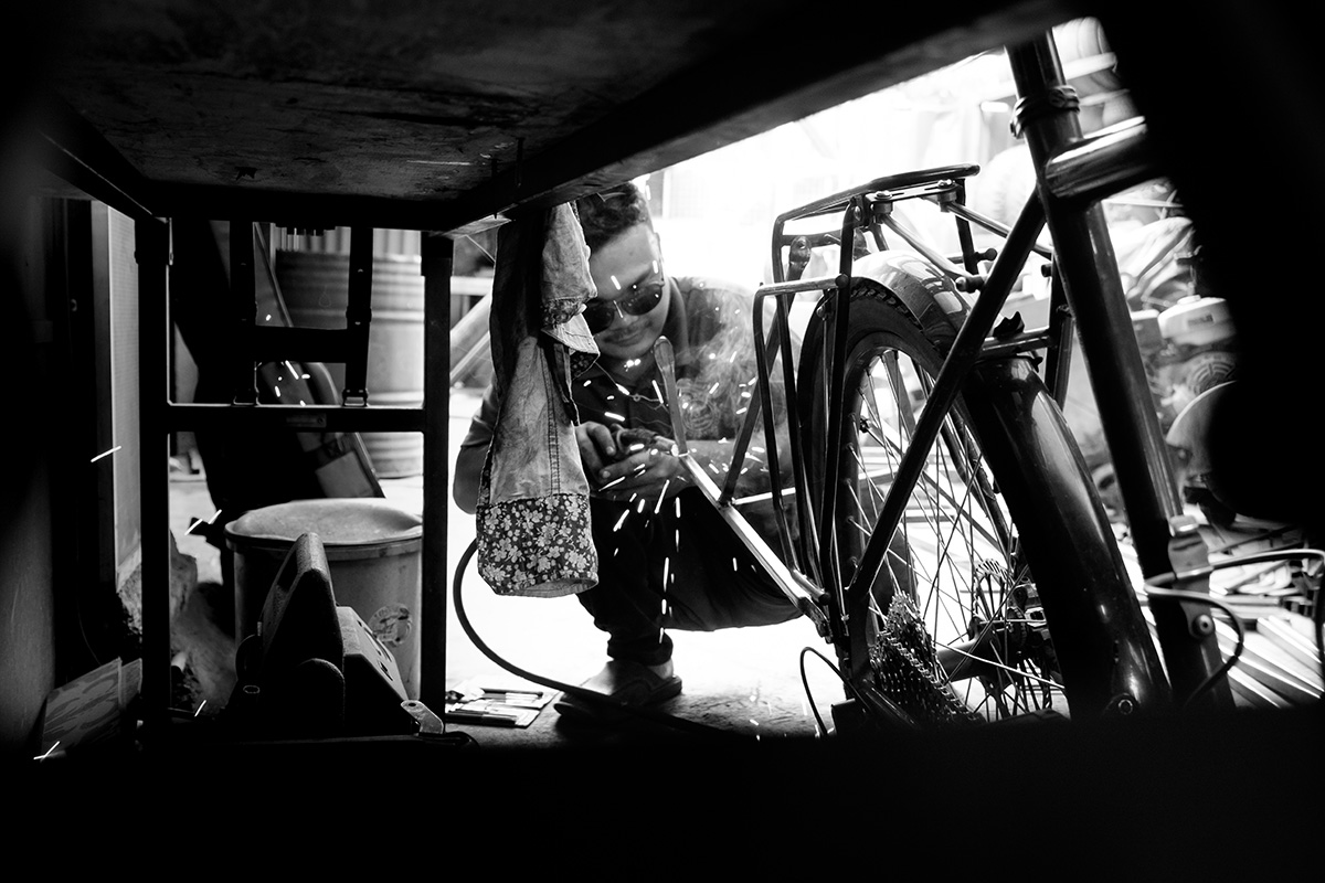 Soudure directement sur le vélo.