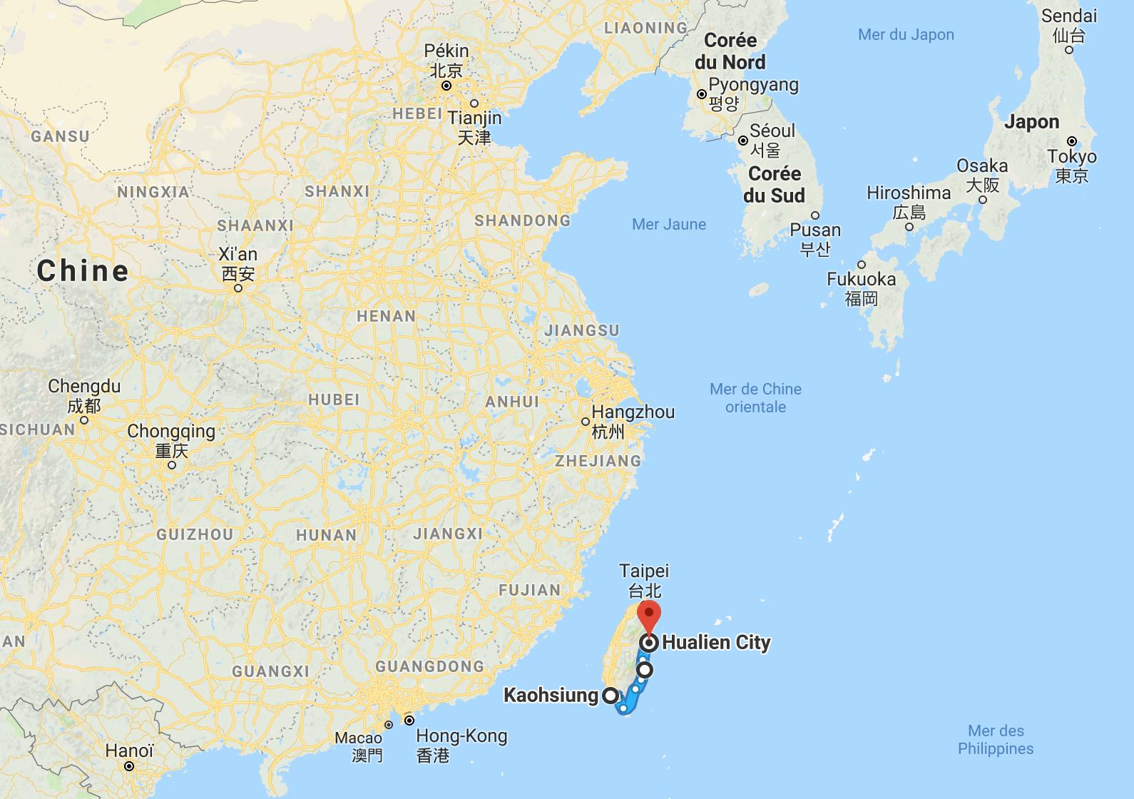 Taïwan en Asie de l'Est.