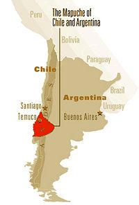 Territoire actuel des Mapuches au Chili et en Argentine (source: newworldencyclopedia.org).