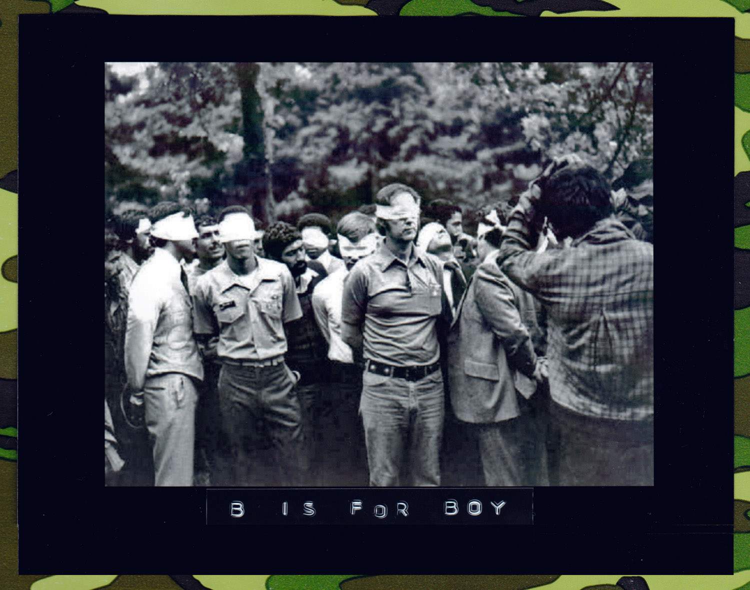 Blindfolded American hostages are gathered before the public and photographed by their Iranian captors on November 4, 1979, the first day of occupation of the U.S. Embassy in Tehran. The picture, obtained by UPI after the FBI showed no interest, was brought into the U.S. by an Iranian.