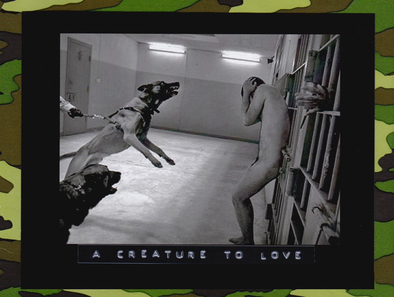 Torture Standard Operating Procedure Abu Ghraib. Dogs and Prisoner- Reenactment, 2008. (Photo: Nubar Alexanian)