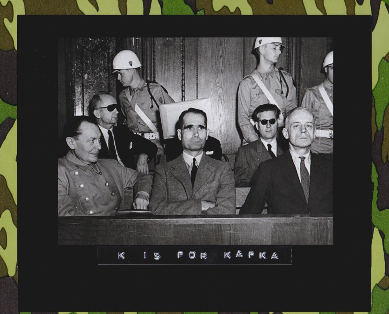 The Nuremberg Trial (1945–1946). In the first row, from left to right: Hermann Göring, Rudolf Hess, and Joachim von Ribbentrop. In the back row, from left to right, Karl Dönitz, Erich Raeder (hidden), and Baldur von Schirach. Because of the bright light of the cameras filming the trial, the accused were given dark glasses. 1946. (Bildarchiv Preußischer Kulturbesitz)