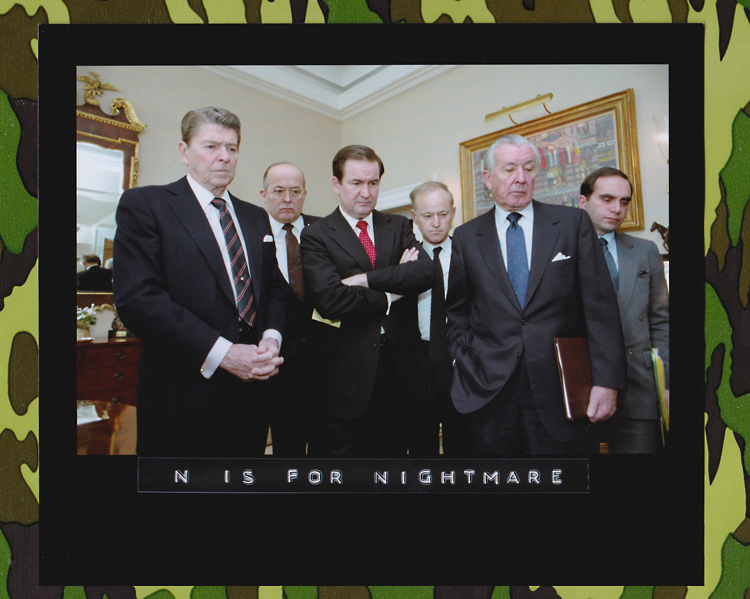 President Reagan and his staff watch the television in the wake of the Challenger explosion, waiting for news and watching replays of the disaster. Left to right: Ronald Reagan, James Poindexter, Pat Buchanan, Alfred Kingon, Don Regan, Edward Djerejian. (Photo: Bill Fitzpatrick/Courtesy of the Ronald Reagan Library)