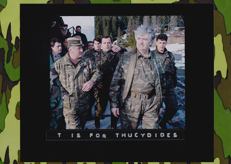 Bosnian Serb wartime leader, Radovan Karadzic (second right) and his general Ratko Mladic (first left)walk accompanied by bodyguards on Mount Vlasic frontline, April 15, 1995. (Photo: Sava Radovanovic/Associated Press)