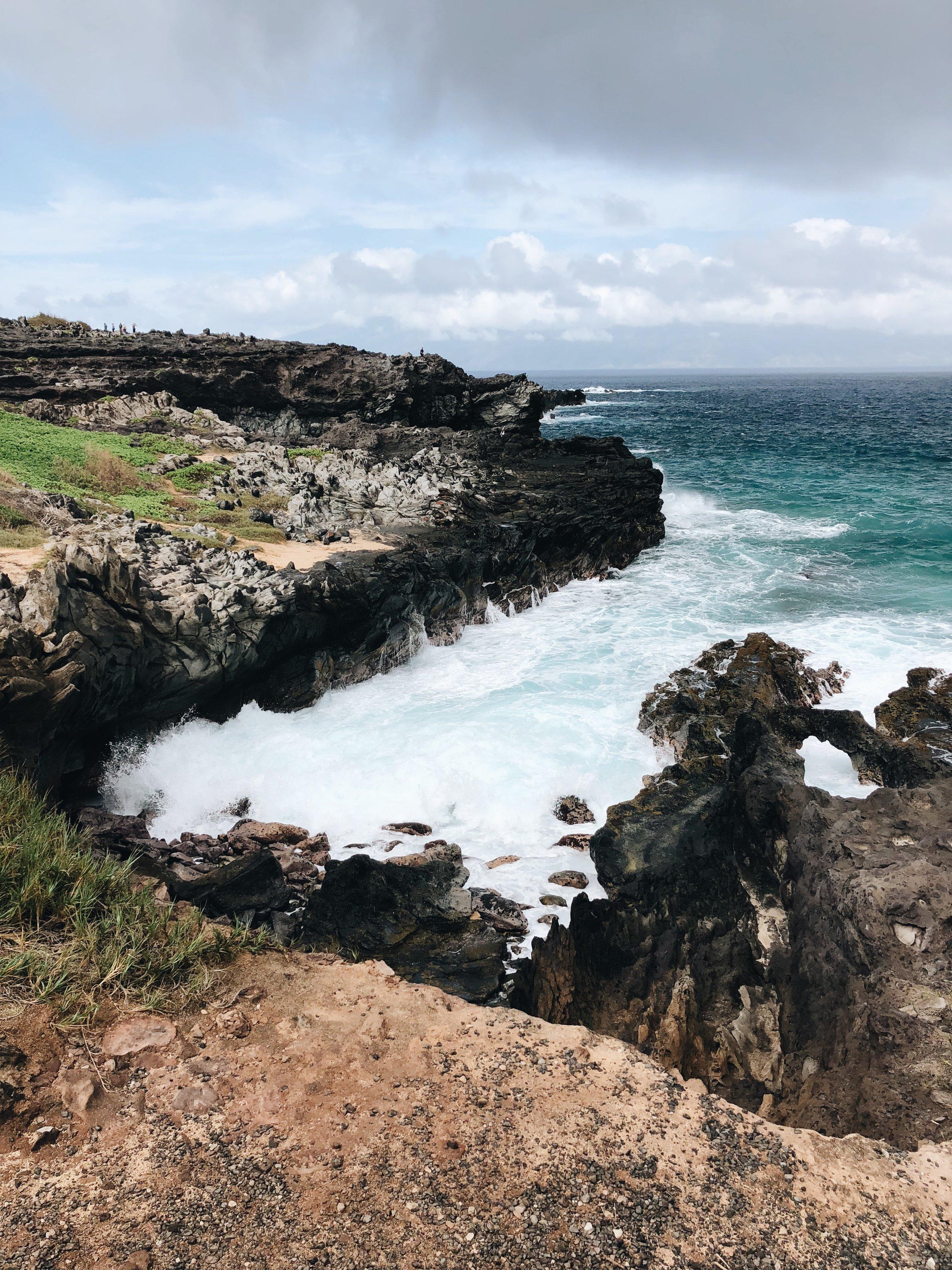 Walking along the Kapalua Coastal Trail to Makaluapuna Point (Dragon's Teeth)