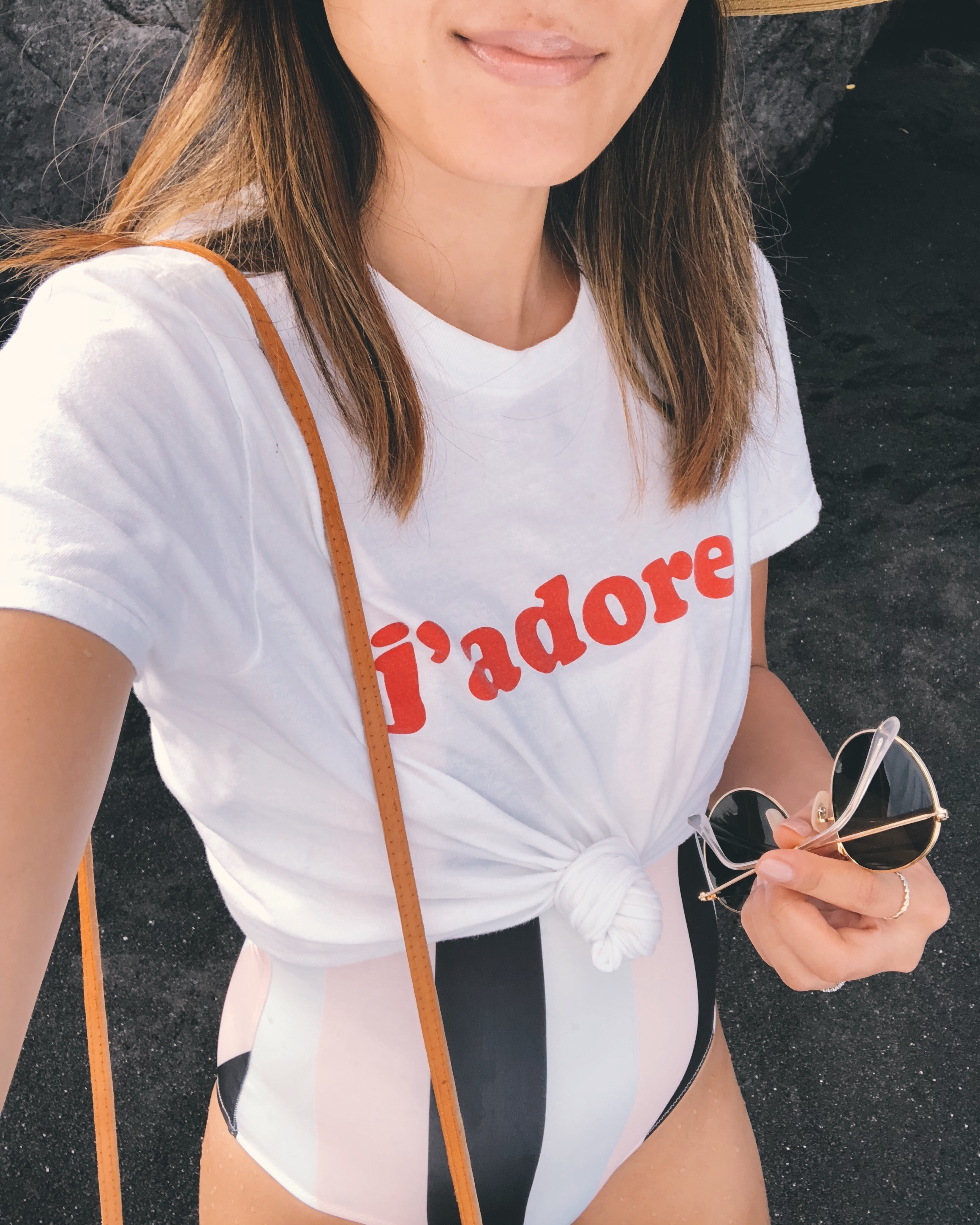 Boohoo J'adore Shirt , Solid & Striped One Piece ( Similar ),  Ray Ban Round Metal Sunglasses