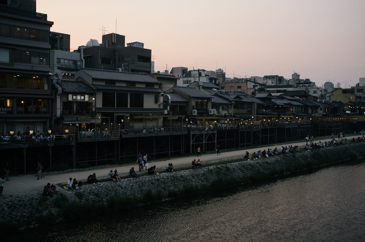 Back of Pontocho Alley from Gion bridge