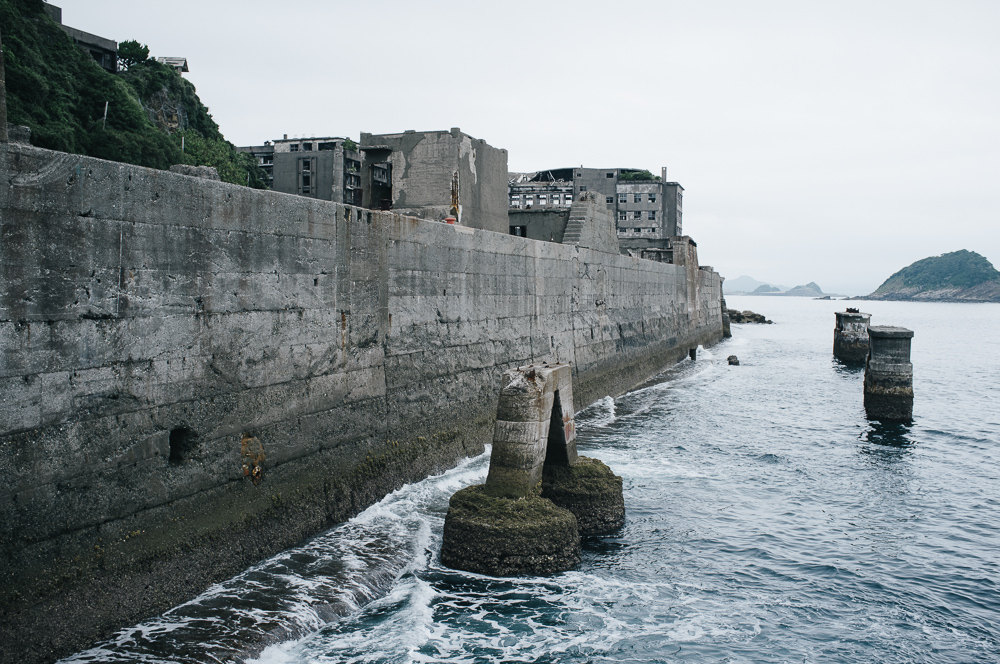 Sea wall helps give the island its distinctive look.