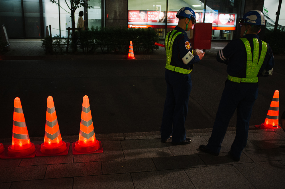 Glowing traffic cones
