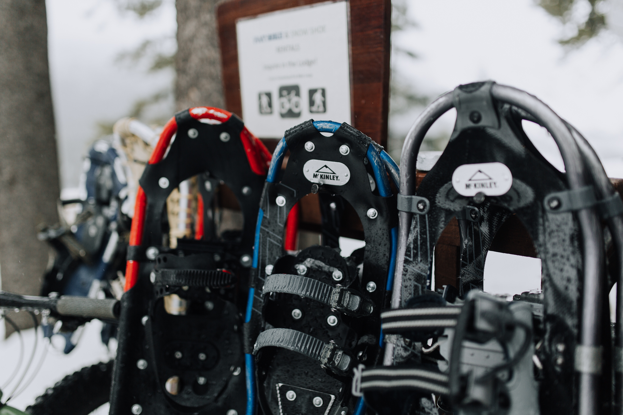 Snowshoes for elopement guests at Storm Mountain Lodge winter wedding