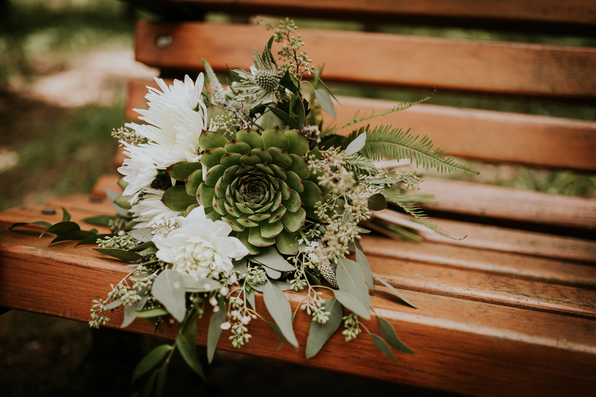 Bridal flowers bouquet on bench at Delta Kananaskis