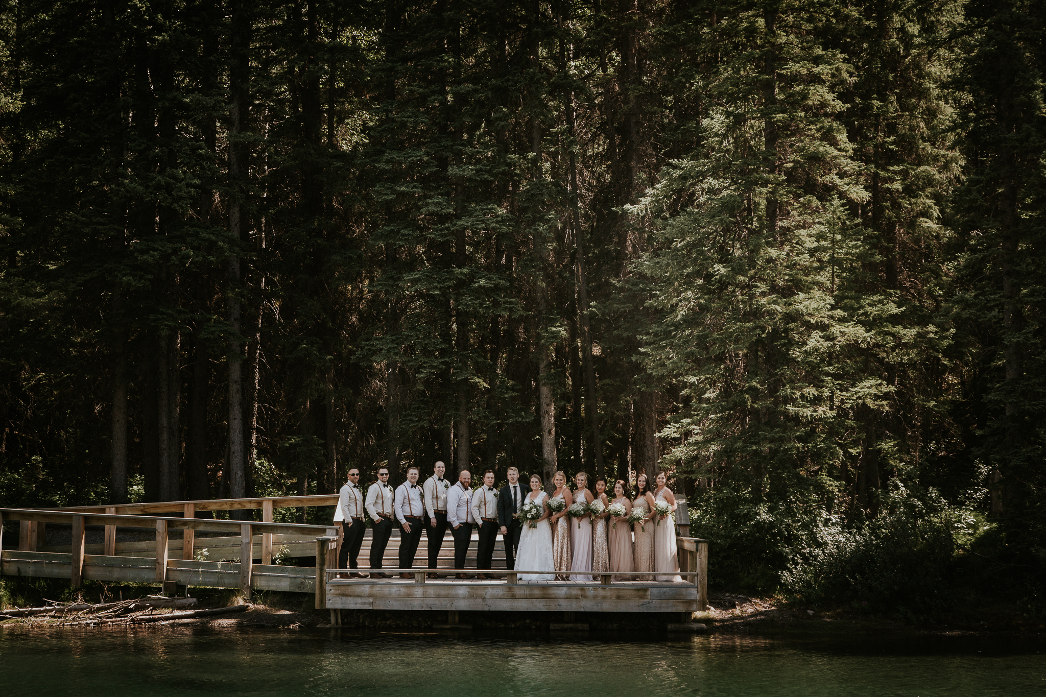 Bridal party portraits at Mount Lorette ponds Kananaskis