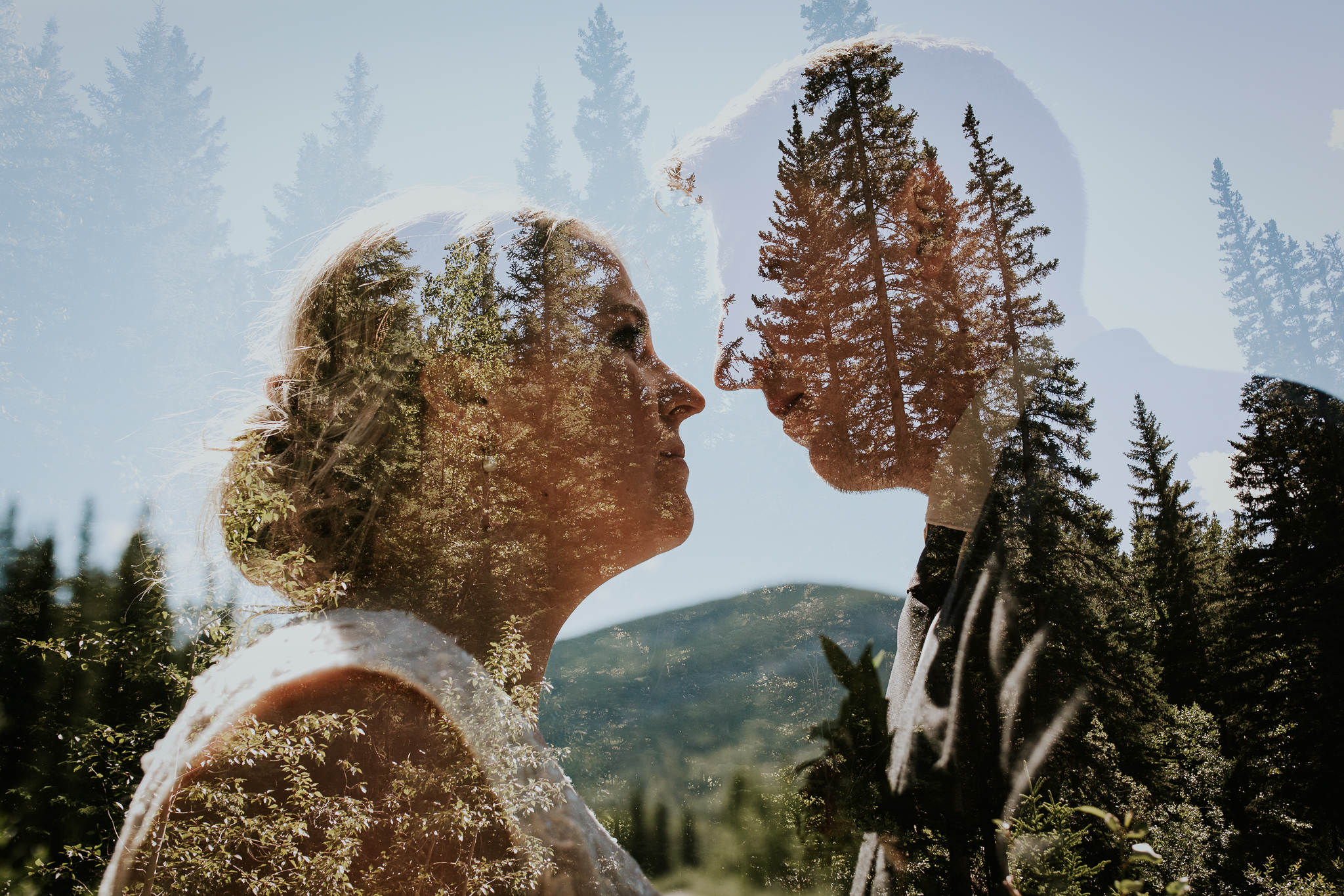 Double exposure of bride and groom at Mt Lorette ponds Kananaskis