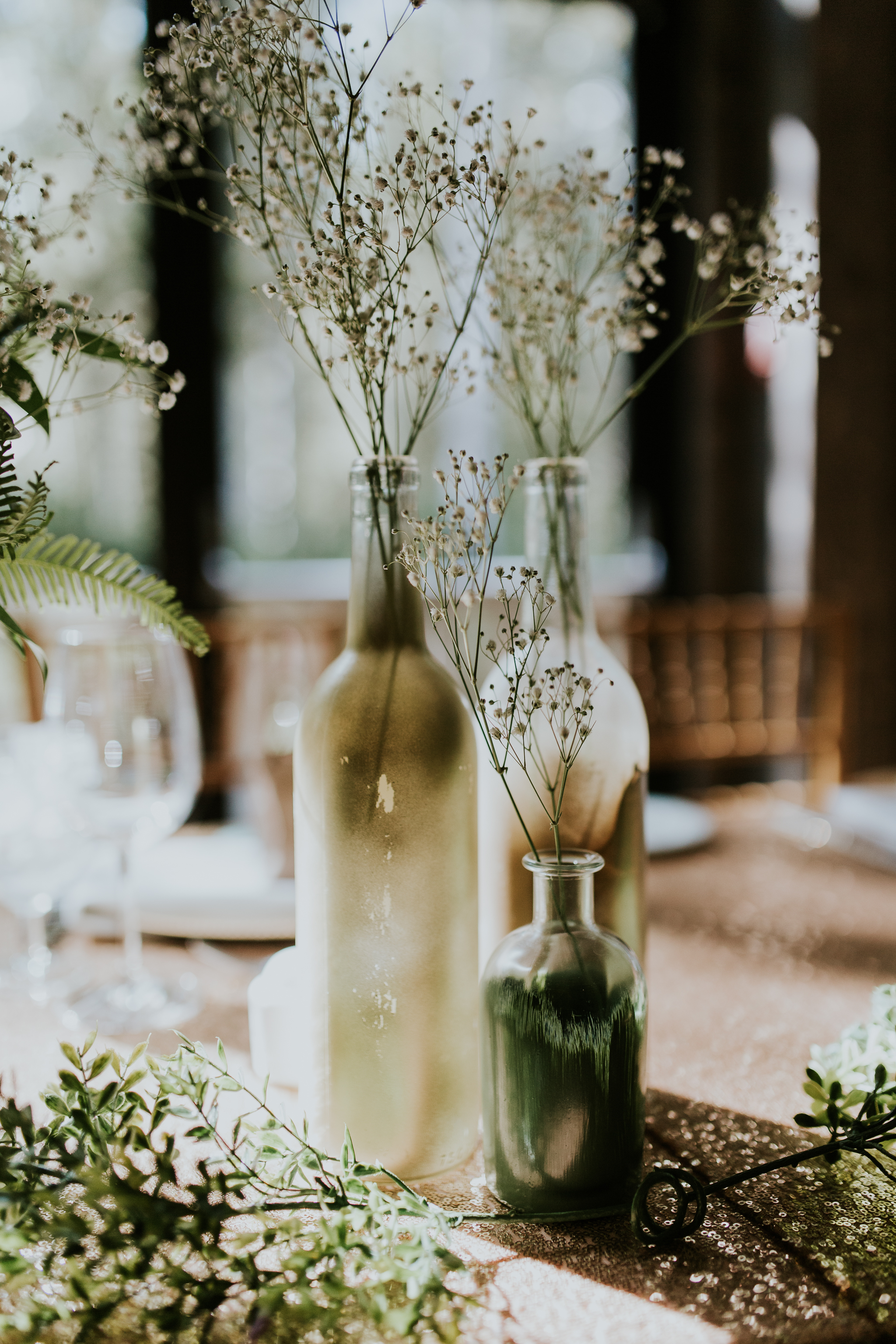 Baby's breath floral table centrepieces at Delta Kananaskis wedding