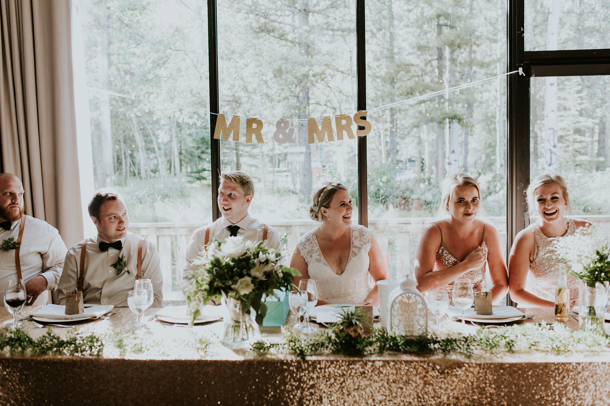 Bridal party table during reception at Delta Kananaskis wedding