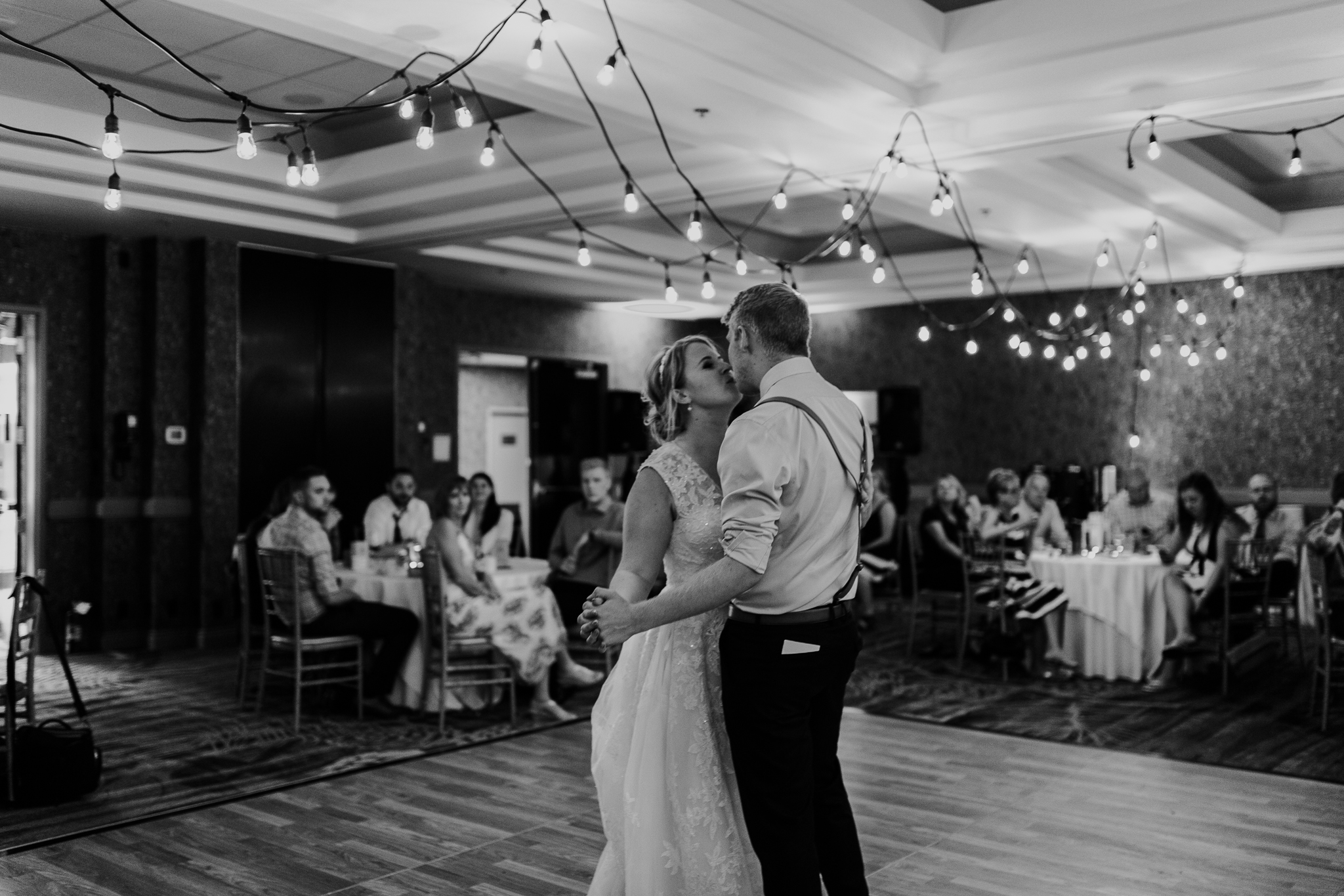 Bride and grooms first dance during reception at Delta Kananaskis wedding
