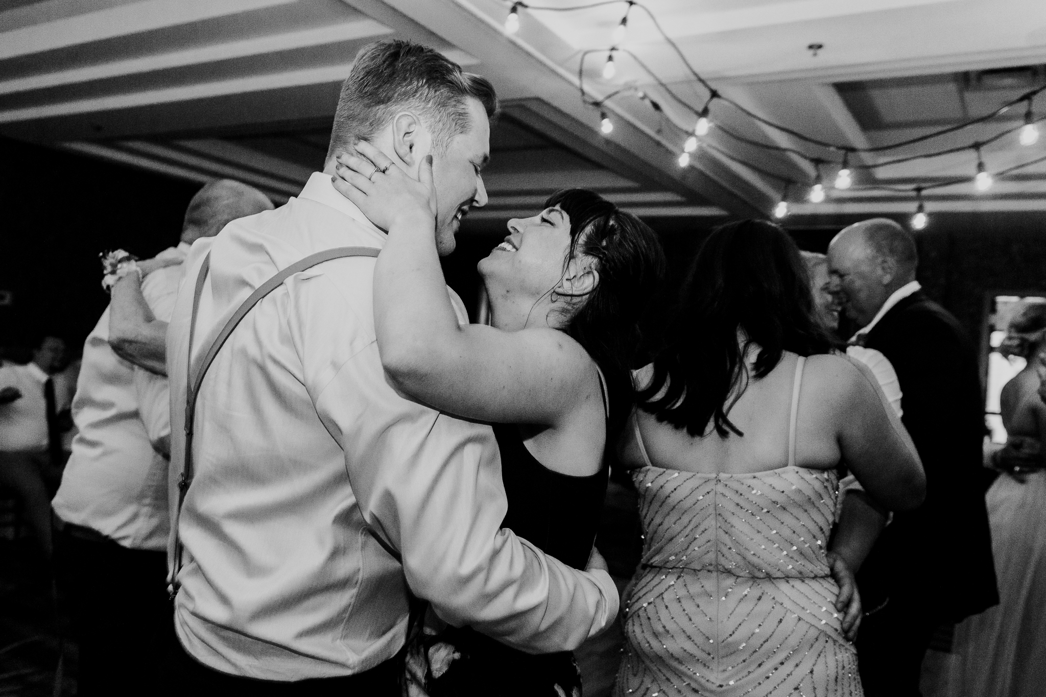 Guests dancing during reception at Delta Kananaskis wedding