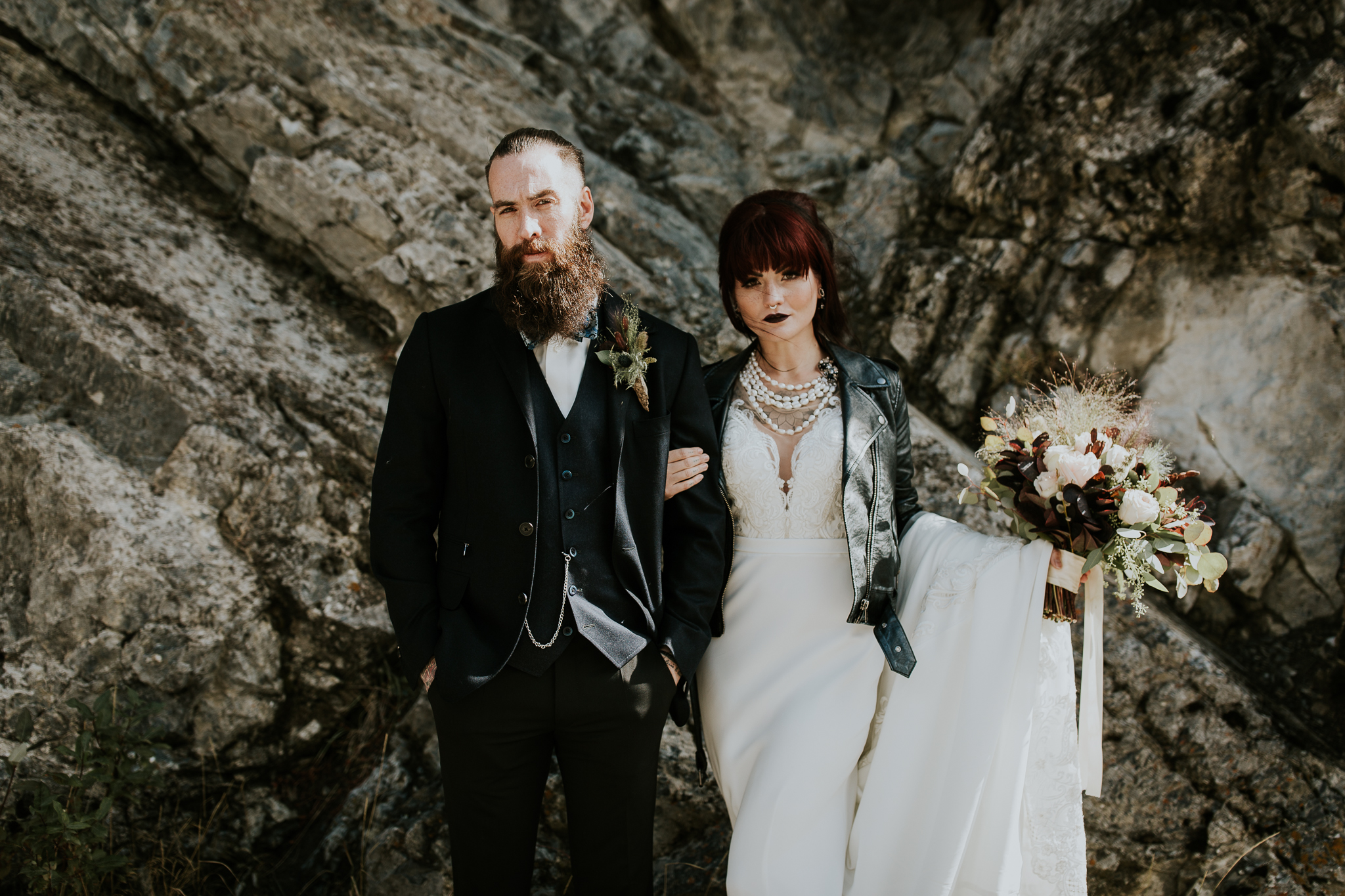 Moody intimate fall wedding tattooed couple in Canmore Kananaskis