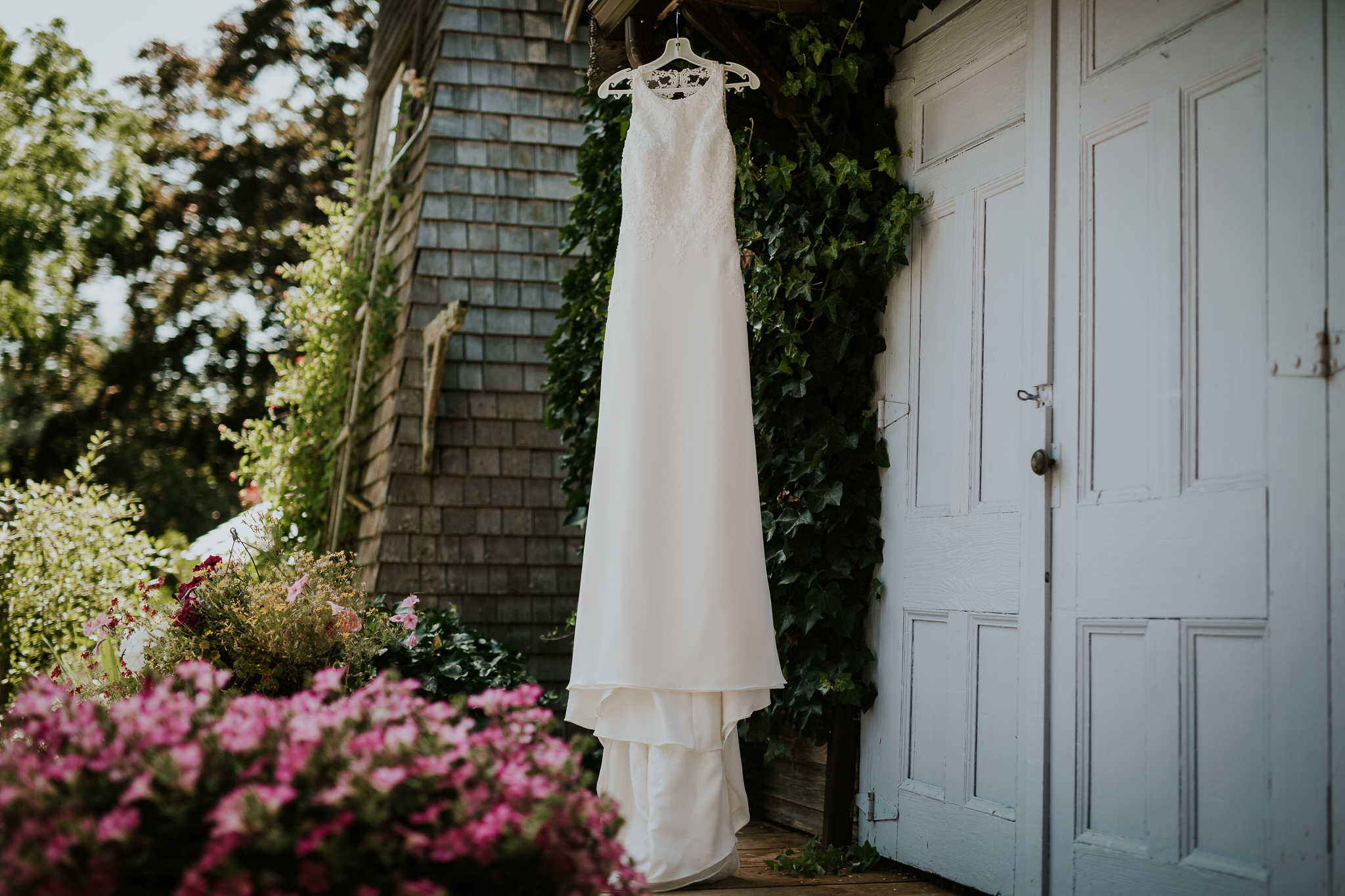 Brides wedding dress hanging on vines at Starling Lane Winery, Victoria BC