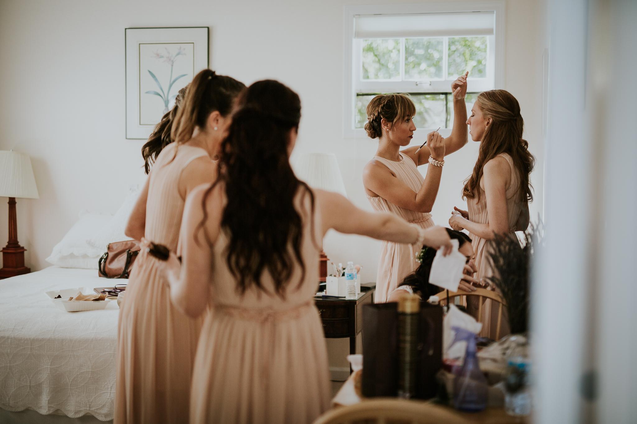 Bridal party doing hair and makeup at Starling Lane Winery wedding