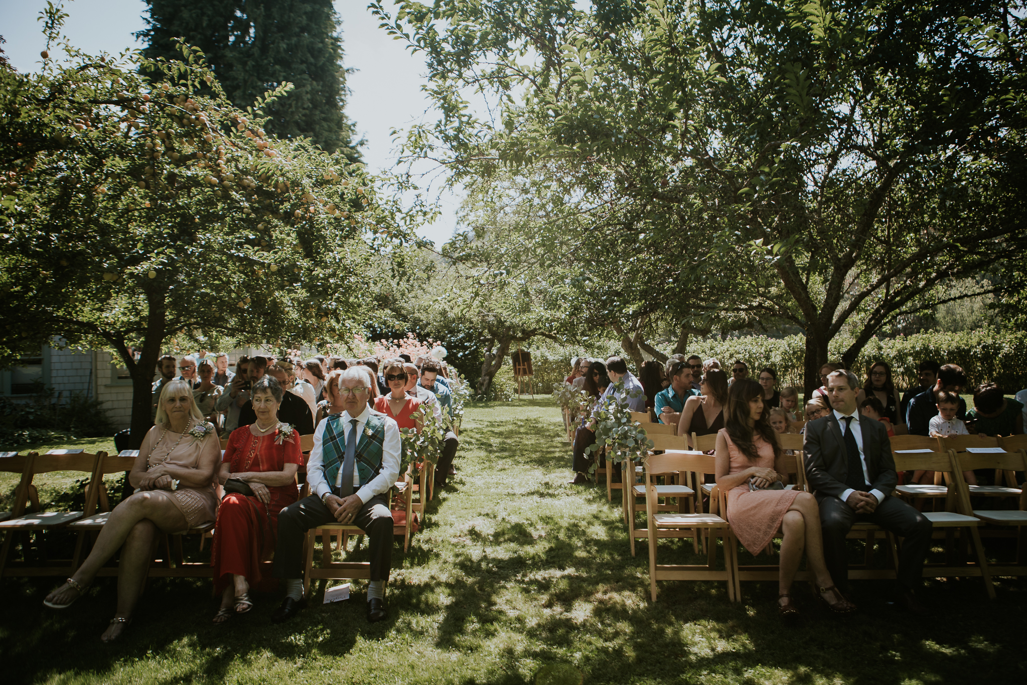 Ceremony site with seated guests under trees at Starling Lane Winery