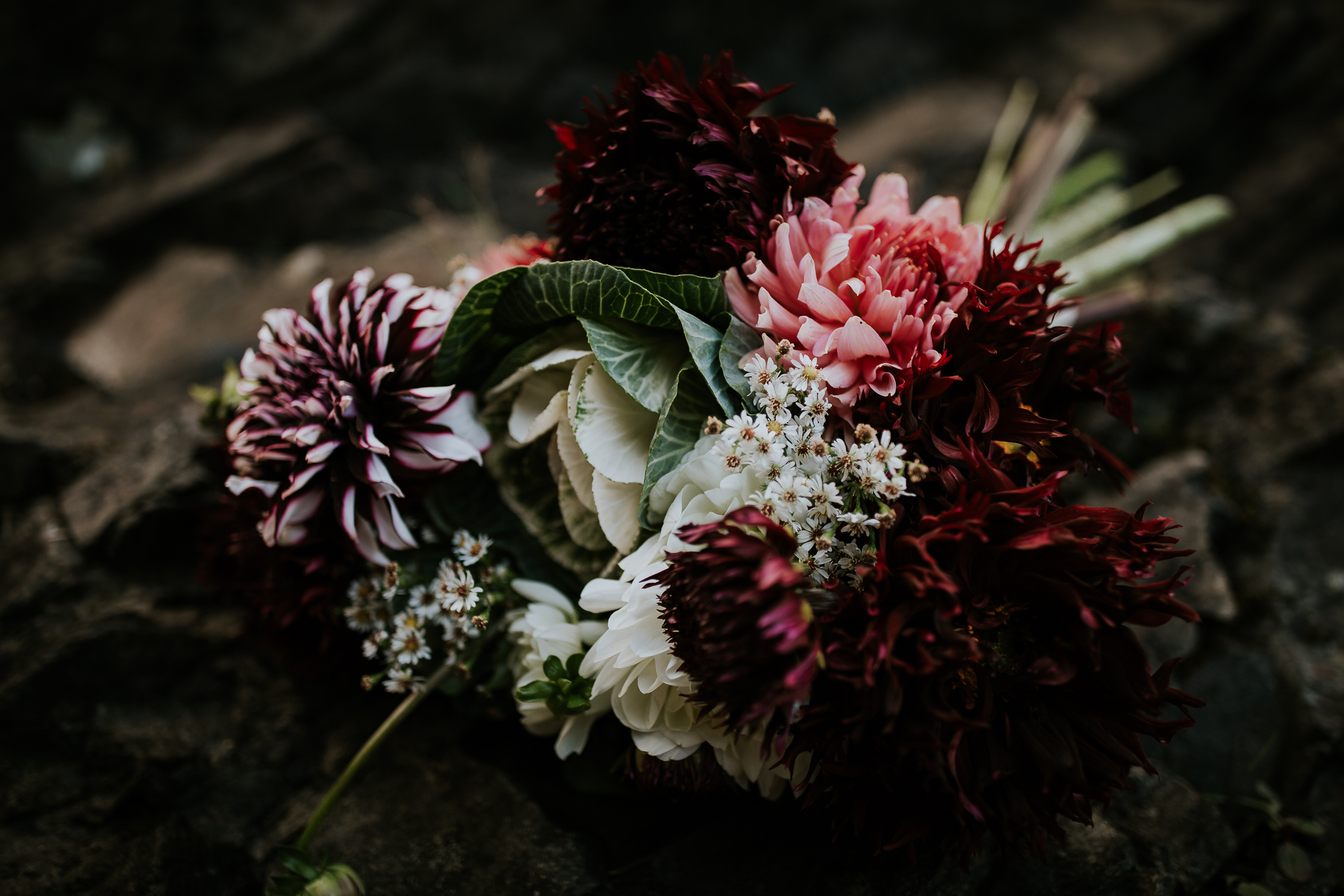 Fresh local flower bridal bouquet at Snoqualmie falls