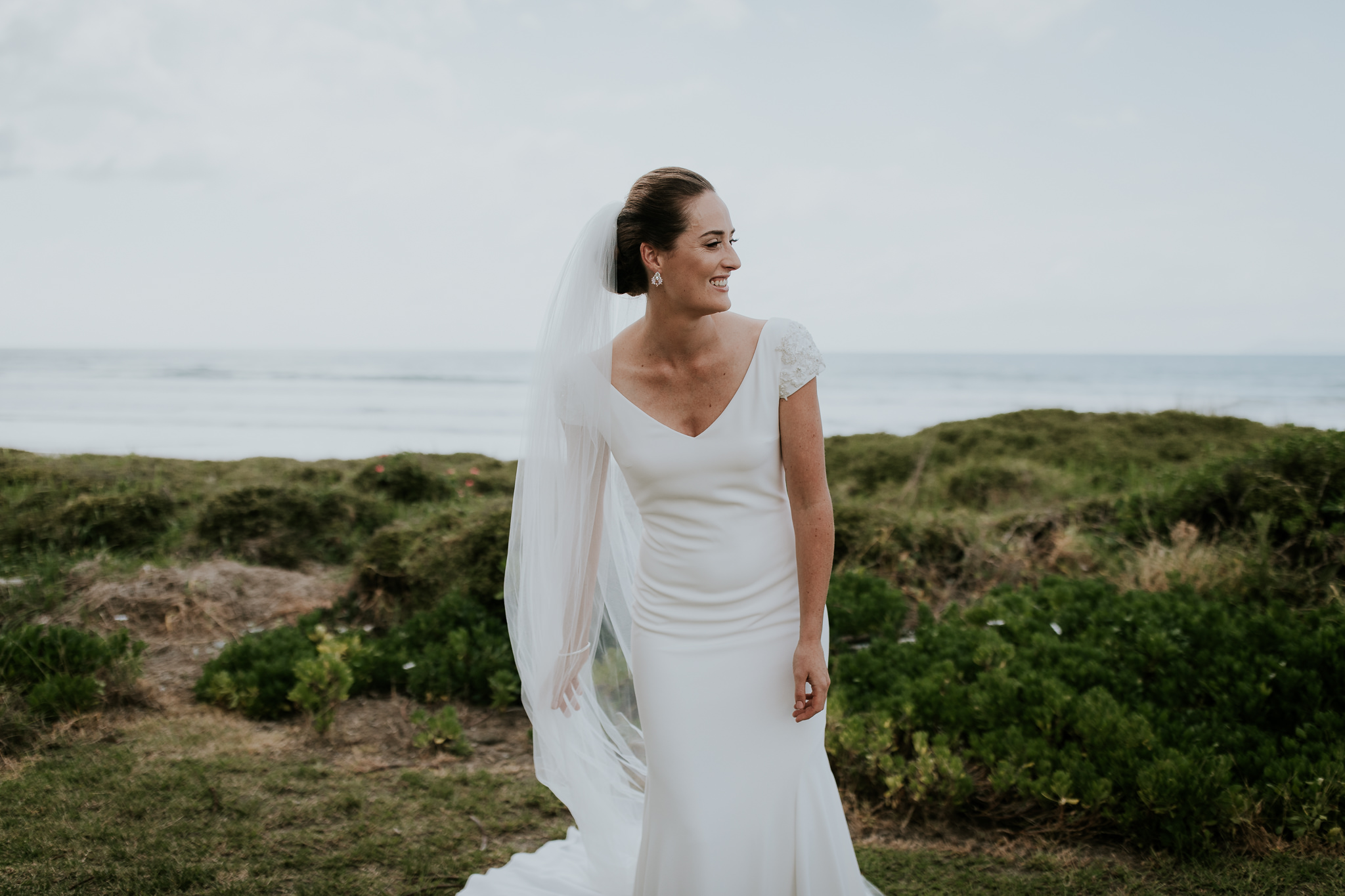 Beautiful elegant New Zealand bridal portrait the morning of her wedding day