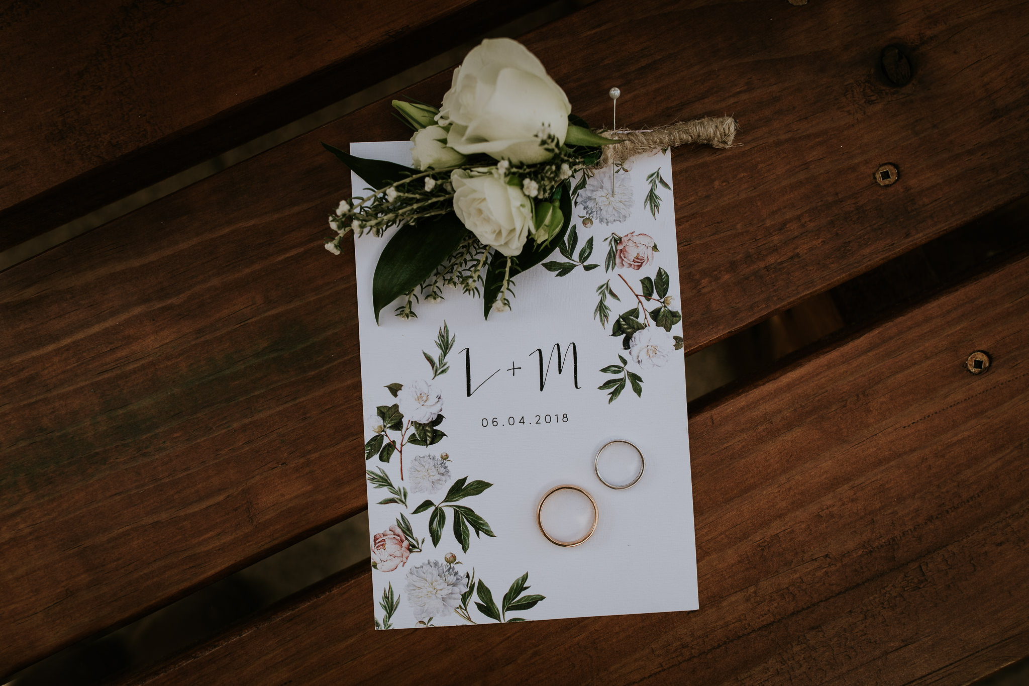 Layflat of New Zealand wedding stationary and rings with boutonnière