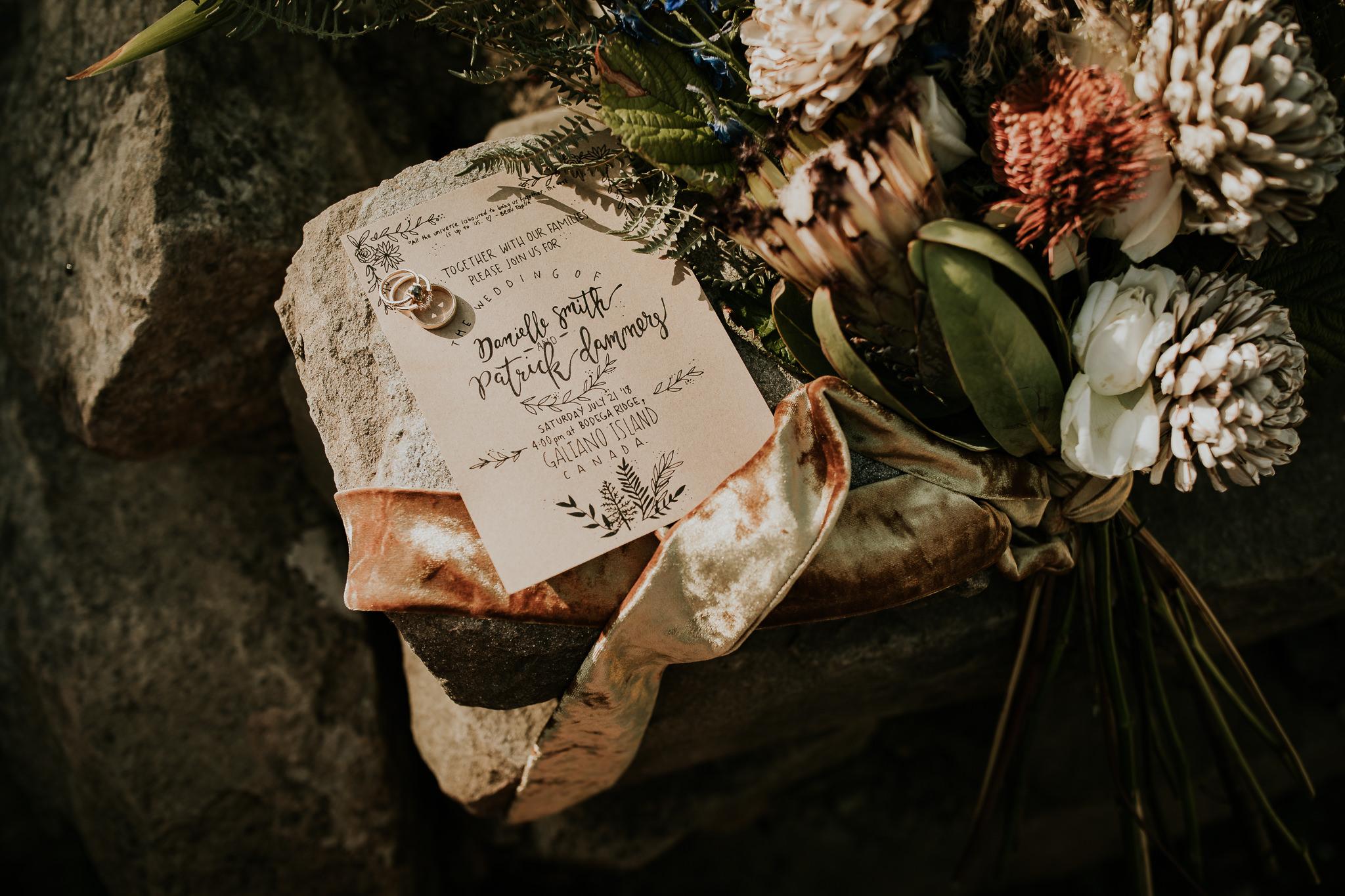 Custom wedding stationary for Galiano Island Bodega Ridge wedding