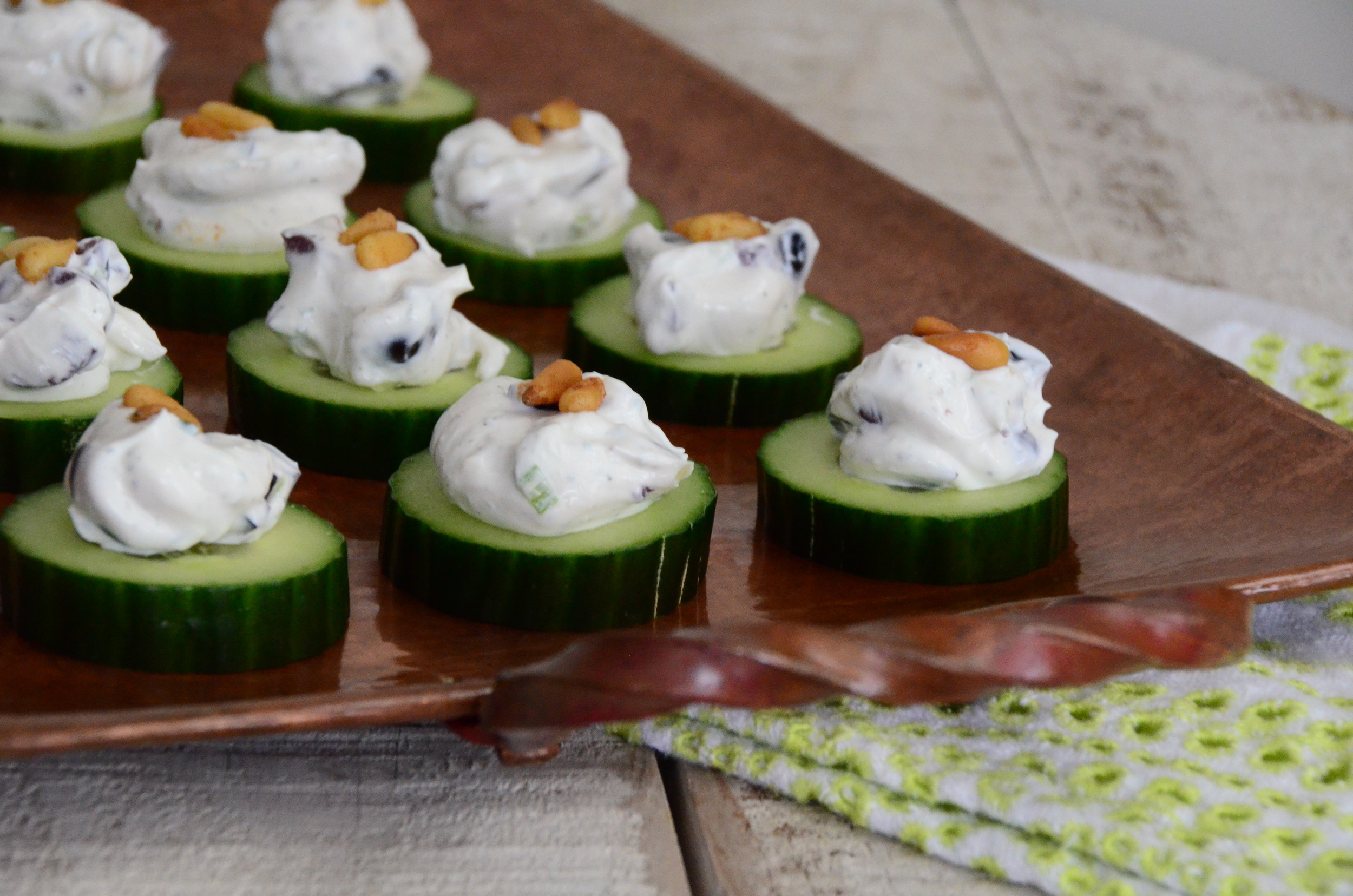 Maureen's Cucumber Bites with Olives and Labneh