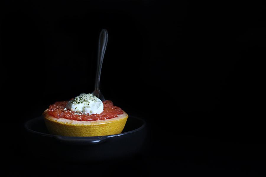 Maple-Broiled Grapefruit with Greek Yogurt and Hempseed