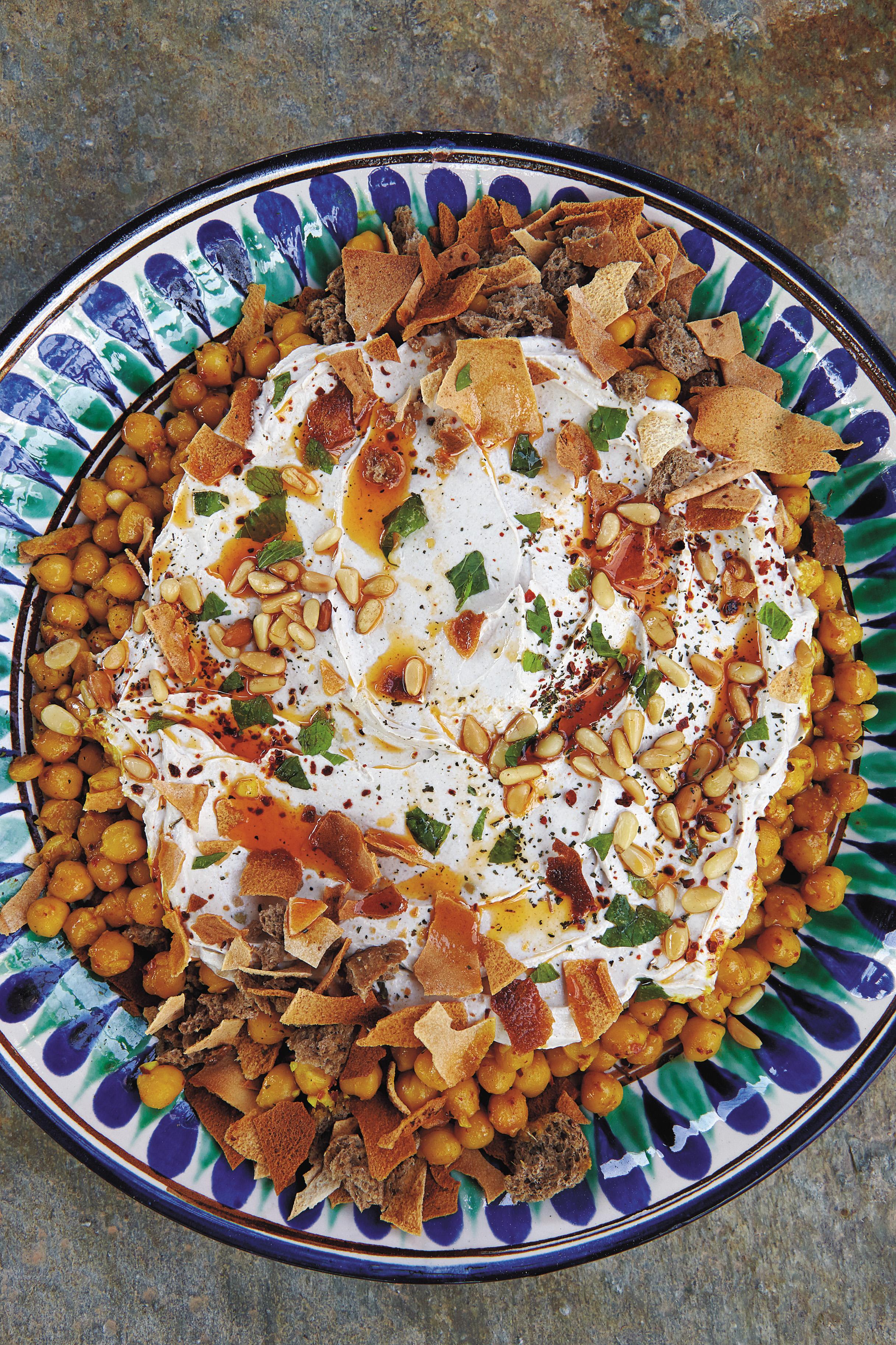 Aglaia's Chickpeas and Toasted Bread with Yogurt-Tahini Sauce (Fattet Hummus)