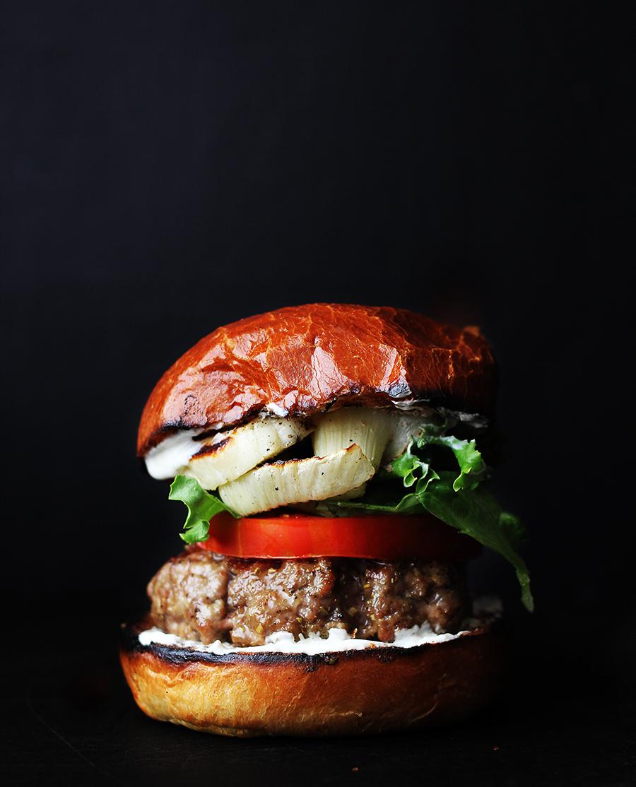 Mediterranean-Style Lamb Burger with Grilled Fennel and Fennel Seed Yogurt