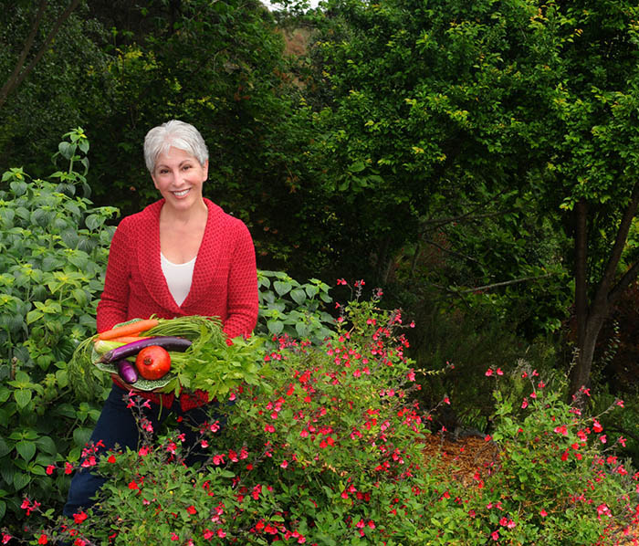 Mollie Katzen in her garden   Photograph © Lisa Keating