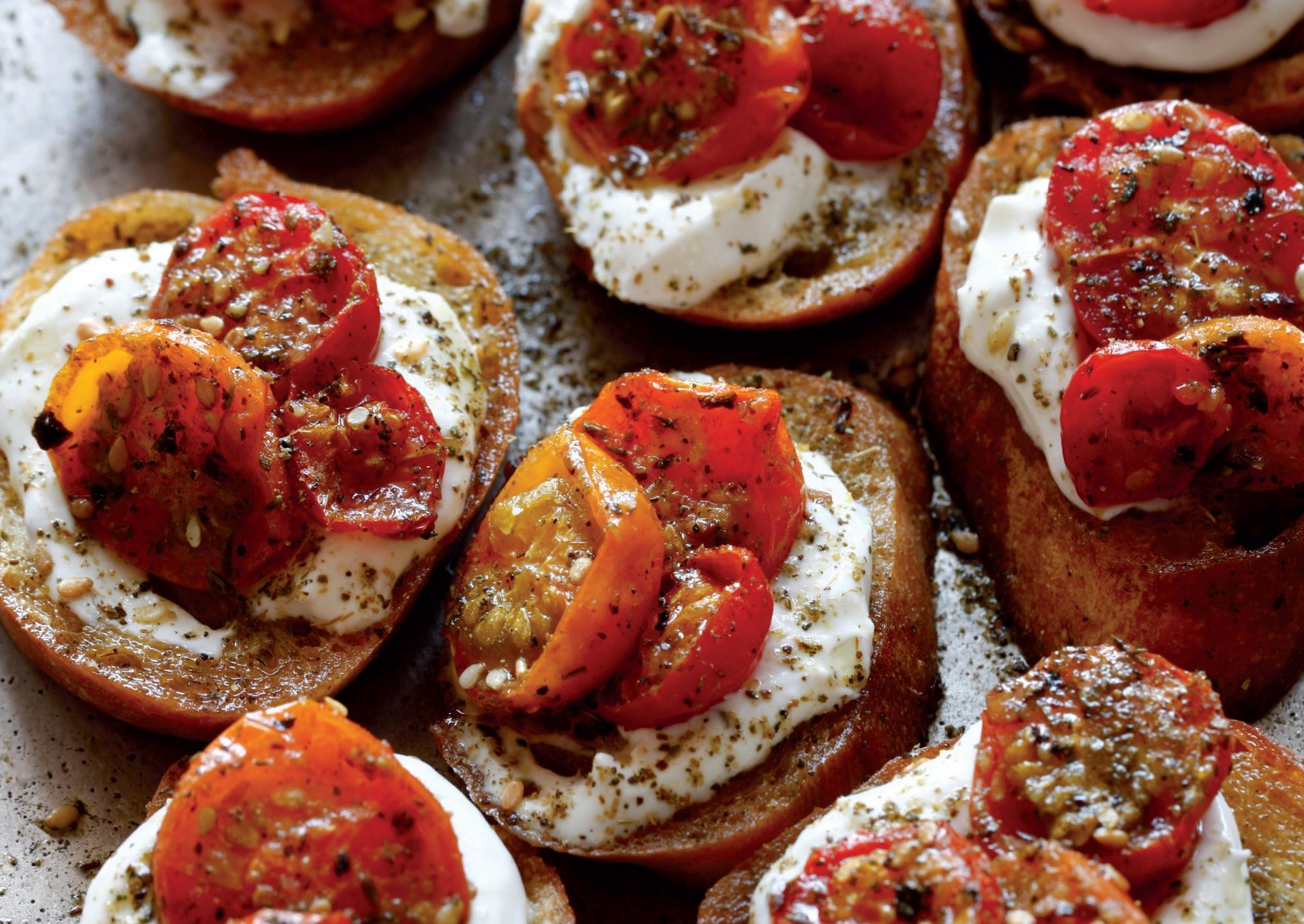 Maureen's Za'atar Roasted Tomato Crostini with Labneh