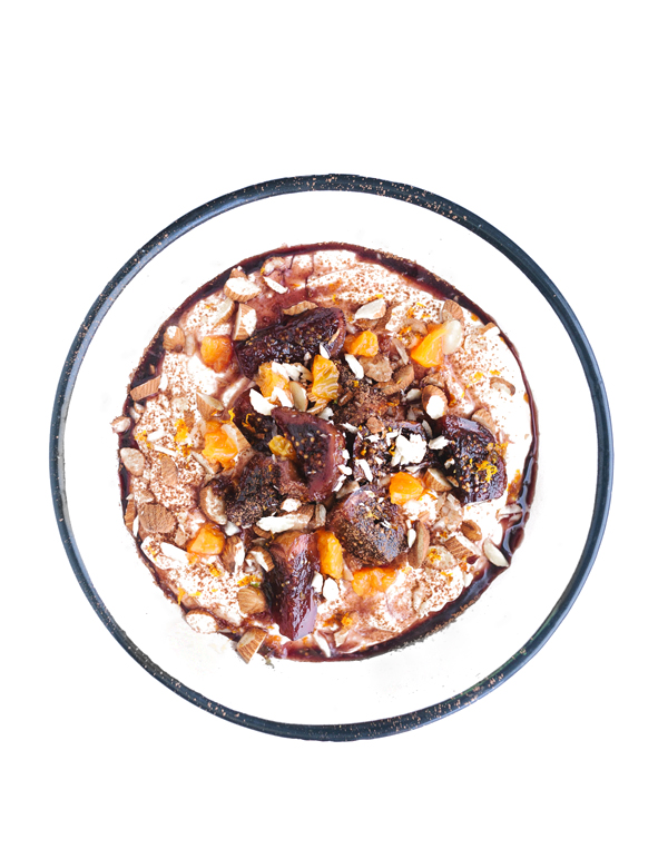 Fig Spoon Sweets Yogurt Bowl   Fig Spoon Sweets in Red Wine Syrup + Toasted Almond + Mandarin Zest + Mandarin Dice + Cocoa