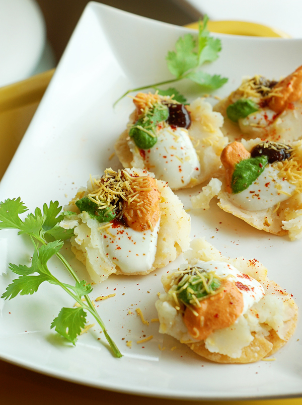 Shefaly's Dahi-Puri (Crispy Flatbreads with Chickpeas, Yogurt, and Chutneys)