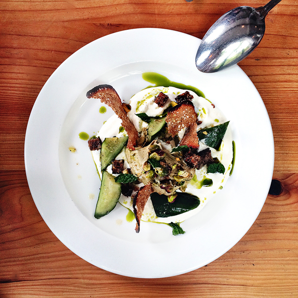 Smoked Yogurt w/ cucumbers, parsley oil, rye crisps + pistachio tahini