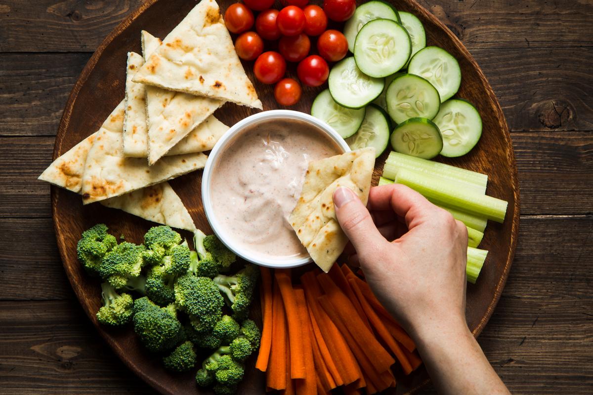 Crudite platter with Raita Yogurt