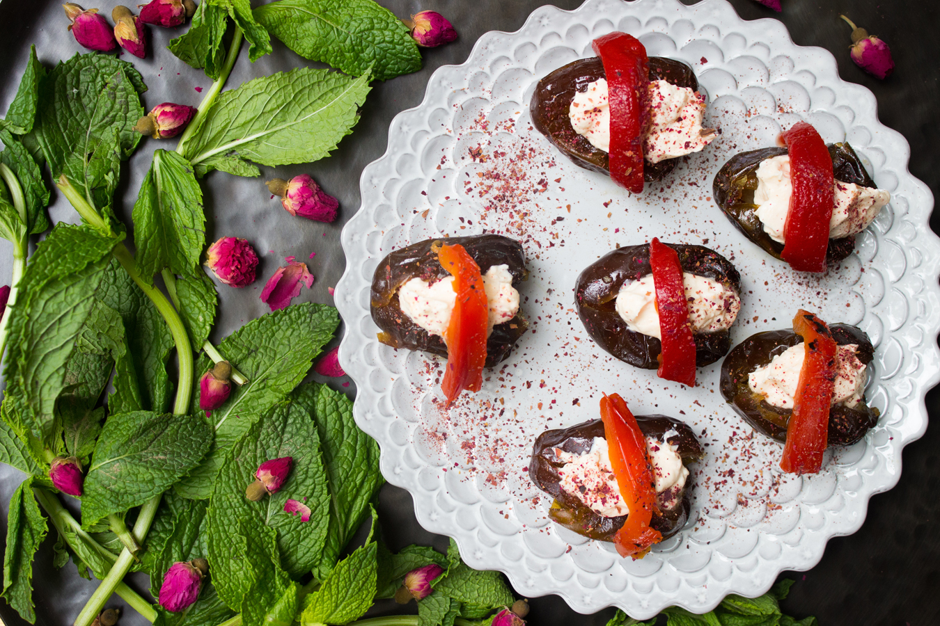 Make | Naz Deravian's Harissa Yogurt Stuffed Dates