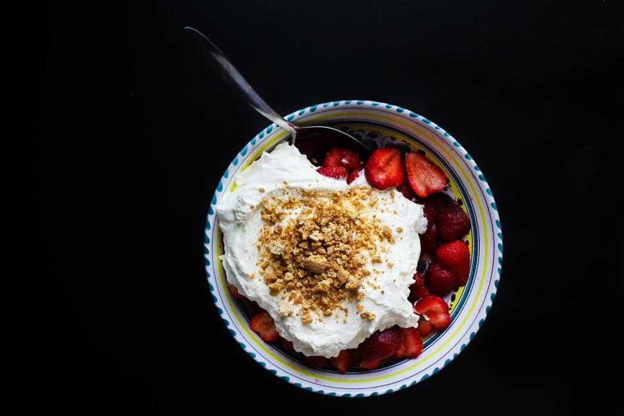 Macerated Strawberries with Yogurt Whipped Cream and Amaretti Crush